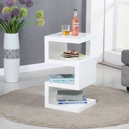 An Image of Trio Modern Side Table In White High Gloss