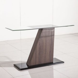 An Image of Fabrize Console Table In Glass Top With Walnut And Black Gloss