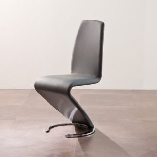 An Image of Swing II Metal Swinging Grey Real Leather Dining Chair