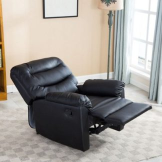 An Image of Henrick Modern Recliner Chair In Black Faux Leather
