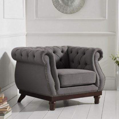 An Image of Ruskin Sofa Chair In Grey Linen With Dark Ash Legs