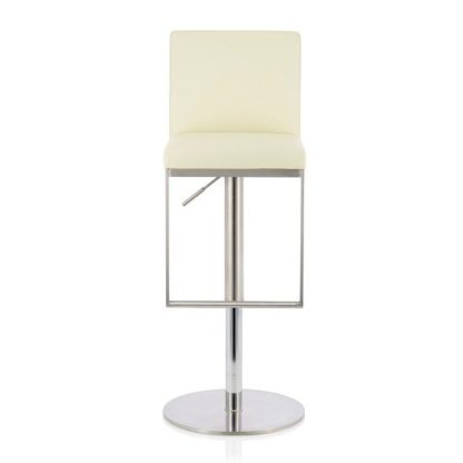 An Image of Cuban Bar Stool In Cream Faux Leather And Stainless Steel Base