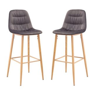 An Image of Harper Grey And Silver Finish Bar Stool In Pair
