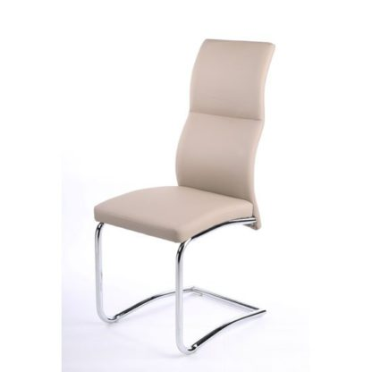 An Image of Palma Dining Chair In Taupe Faux Leather With Chrome Base