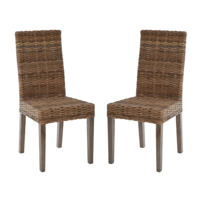An Image of Helvetios Natural Kubu Rattan Dining Chairs In Pair