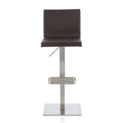 An Image of Tenzo Bar Stool In Brown Faux Leather And Stainless Steel Base