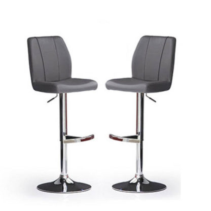 An Image of Naomi Bar Stools In Grey Faux Leather in A Pair