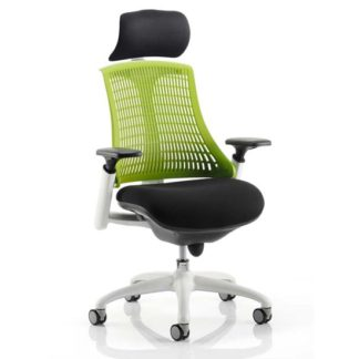 An Image of Flex Task Headrest Office Chair In White Frame With Green Back