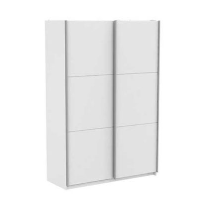 An Image of Selsey Sliding Wardrobe In Matt White With 2 Doors
