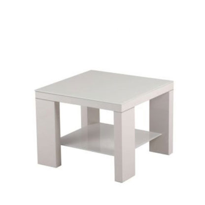 An Image of Alford Glass Side Table Square With Light Grey High Gloss