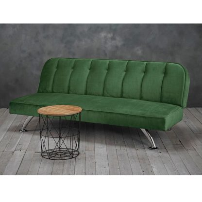 An Image of Wingert Velvet Sofa Bed In Green With Silver Finished Legs