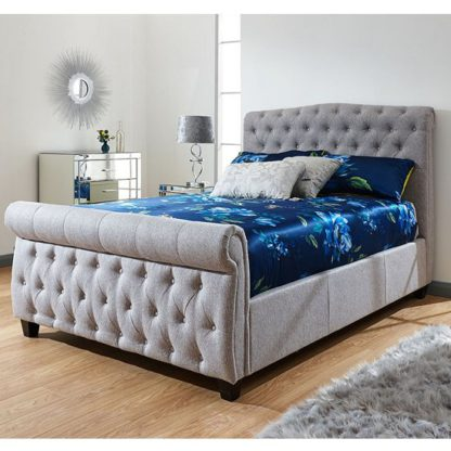 An Image of Lucerne Side Lift Chenille Fabric Ottoman Double Bed In Grey