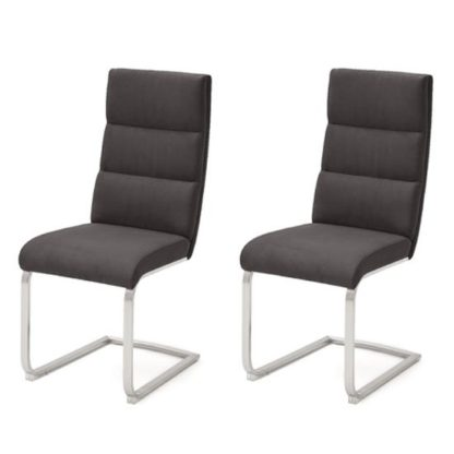 An Image of Hiulia Anthracite Cantilever Dining Chair In A Pair