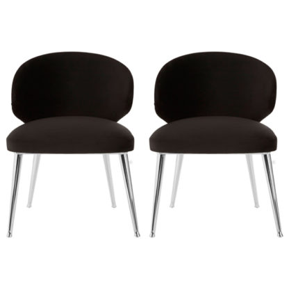 An Image of Markeb Fabric Dining Chair With Steel Base In Pair