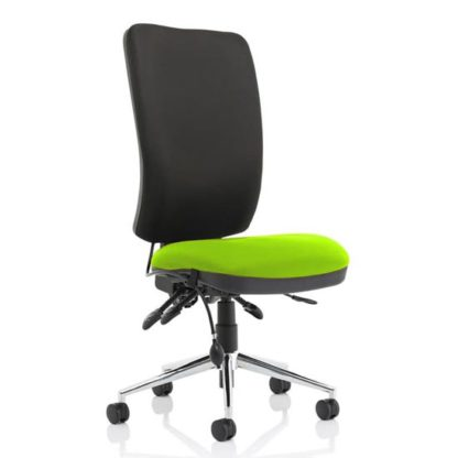 An Image of Chiro High Black Back Office Chair In Myrrh Green No Arms