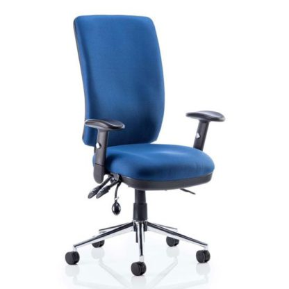 An Image of Chiro Fabric High Back Office Chair In Blue With Arms