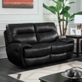 An Image of Orionis LeatherGel And PU Recliner 2 Seater Sofa In Black