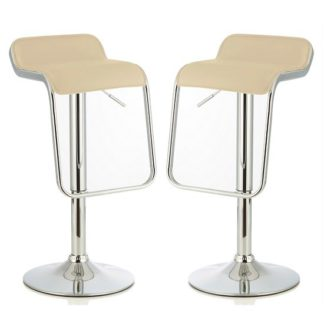 An Image of Mestler Modern Bar Stool In Cream Faux Leather In A Pair