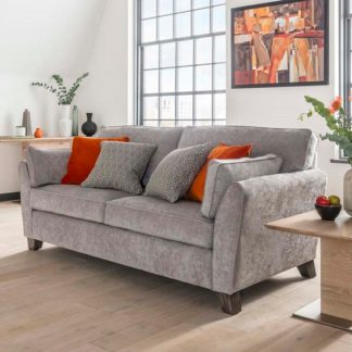 An Image of Barresi Chenille Fabric Three Seater Sofa In Silver Finish