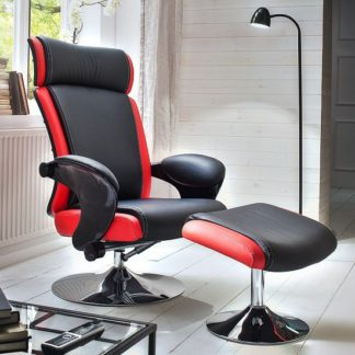 An Image of Liam Reclining Chair In Black And Red Faux Leather With Stool