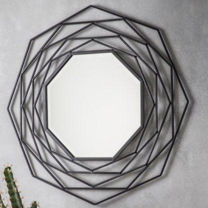 An Image of Cargan Metallic Wall Mirror In Black