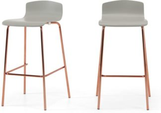 An Image of Syrus Set of 2 Barstools, Grey & Copper