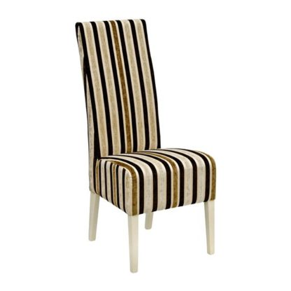 An Image of Skyline High Back Clio Stripe Dining Chair In Stone Finish