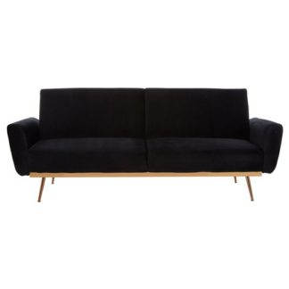 An Image of Eltanin Black Velvet Sofa Bed With Metallic Gold Legs