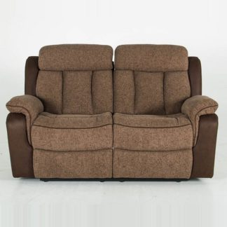 An Image of Karr Two Seater Recliner Fabric Sofa In Brown