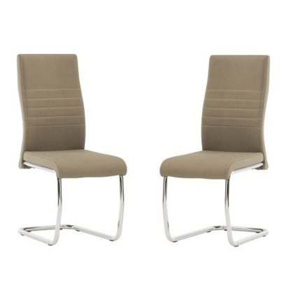 An Image of Devan Cantilever Dining Chair In Taupe Faux Leather In A Pair