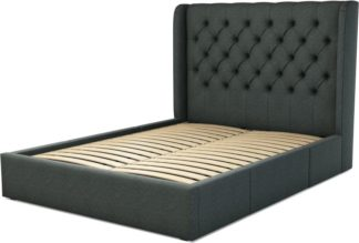An Image of Custom MADE Romare King size Bed with Drawers, Etna Grey Wool