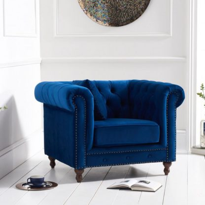 An Image of Mentor Modern Fabric Sofa Chair In Blue Plush