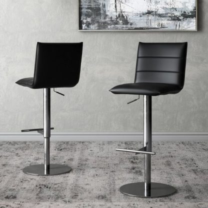 An Image of Riva Black Faux Leather Bar Stools In Pair