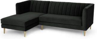 An Image of Amicie Left Hand Facing Chaise End Corner Sofa, Dark Anthracite Velvet