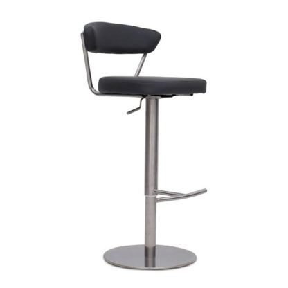 An Image of Astley Bar Stool In Grey PU With Brushed Stainless Steel Base