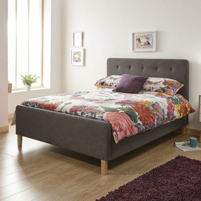 An Image of Ronnie Double Size Fabric Ottoman Storage Bed In Grey