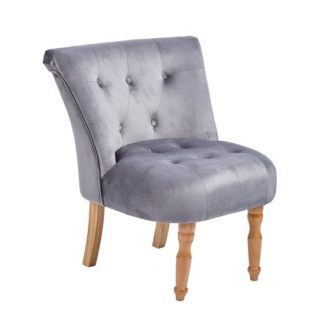 An Image of Alger Fabric Occasional Chair In Silver With Wooden Legs