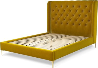 An Image of Custom MADE Romare King size Bed, Saffron Yellow Velvet with Brass Legs