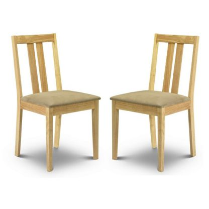 An Image of Kassia Wooden Dining Chairs In Natural Lacquered In A Pair