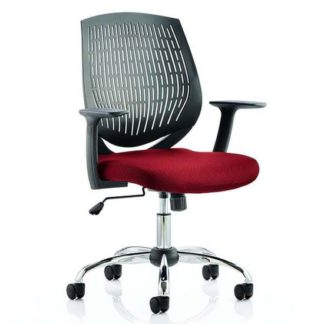 An Image of Dura Black Back Office Chair With Ginseng Chilli Seat