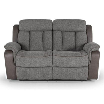 An Image of Karr Two Seater Recliner Fabric Sofa In Grey