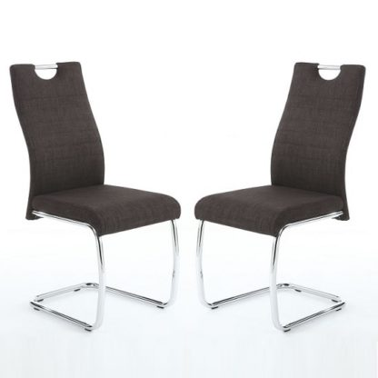 An Image of Grace Dining Chairs In Charcoal Linen Fabric In A Pair
