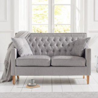 An Image of Bellard Fabric 2 Seater Sofa In Grey Plush And Natural Ash Legs