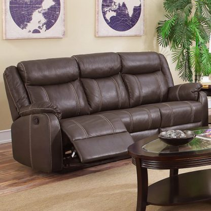 An Image of Leeds LeatherLux And PU Recliner 3 Seater Sofa In Espresso