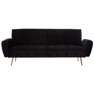 An Image of Emiw Black Velvet Sofa Bed With Metallic Gold Legs