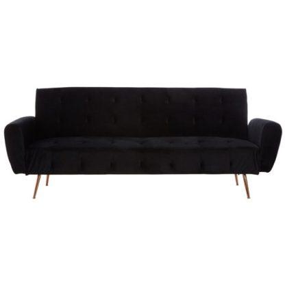 An Image of Emiw Black Velvet Sofa Bed With Metallic Gold Legs