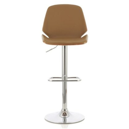 An Image of Elicia Bar Stool In Walnut And Beige PU With Chrome Base