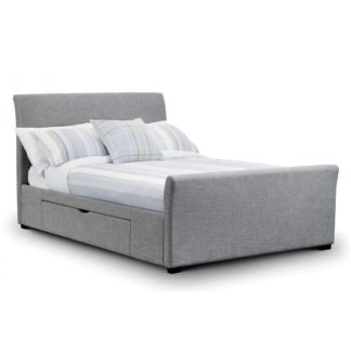 An Image of Emily Fabric King Size Bed In Light Grey linen With 2 Drawers