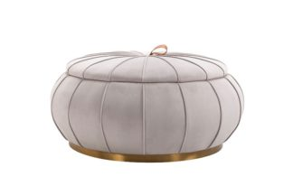 An Image of Pumpkin Storage Ottoman - Dove Grey - Brass Base