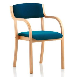 An Image of Charles Office Chair In Kingfisher And Wooden Frame With Arms